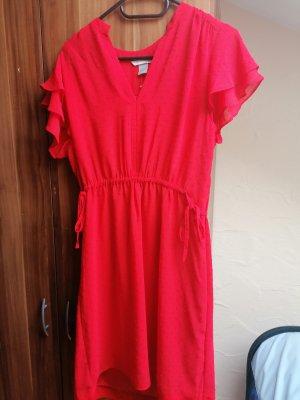 Kleid Dots Rot Flügelärmel