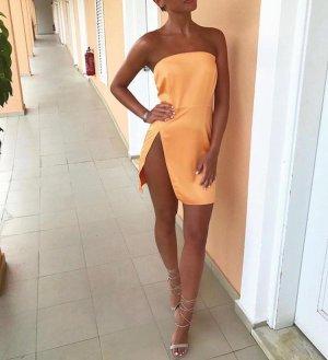 Kleid Dress Minidress Orange Partykleid Bandeaukleid