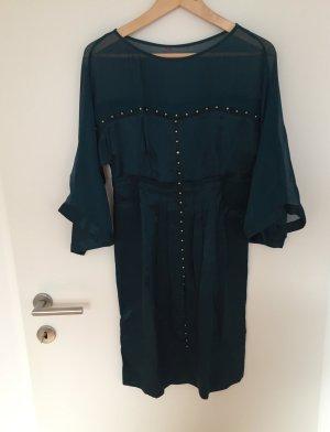 Kleid dunkelgrün mit goldfarbenen Nieten, Gr 36