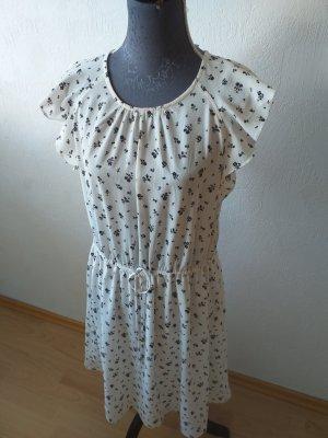 H&M Vestido de manga corta blanco-negro