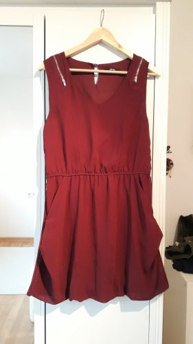 Mim Sukienka z rękawem balonowym głęboka czerwień Poliester