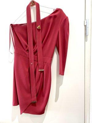 Elisabetta Franchi Vestido de un hombro rojo frambuesa