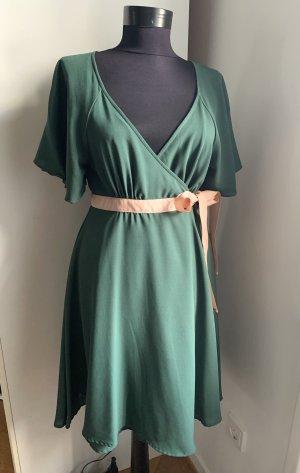 H&M Empire Dress forest green-pink