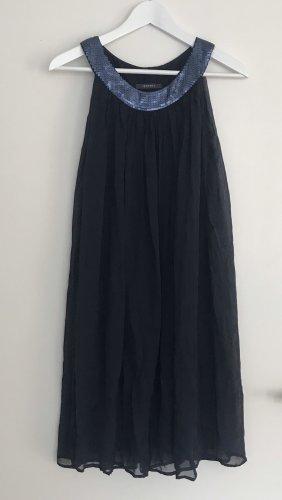 Kleid ESPRIT Gr 36 ungetragen dunkelblau mit Pailetten Seide