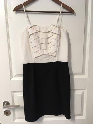 Kleid Etuikleid Minikleid schwarz-weiß von Sandro Gr 38