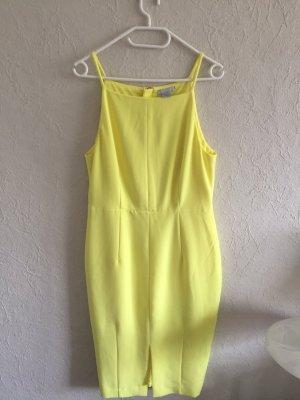 Kleid Etuikleid Pastell Gelb Midikleid