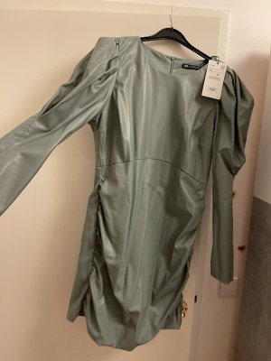 Zara Robe en cuir gris vert