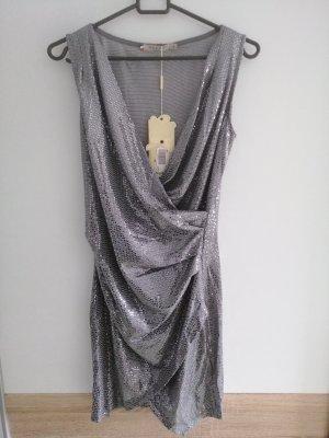 AZAKA Paris Robe à paillettes argenté