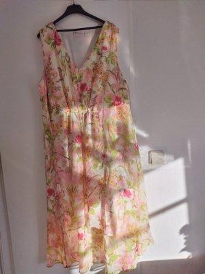 Bonbrix Chiffon jurk limoen geel-donkerrood