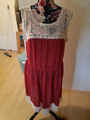 Aniston Abito scamiciato crema-rosso mattone