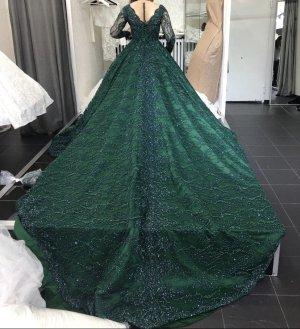 Vestido de novia verde oscuro