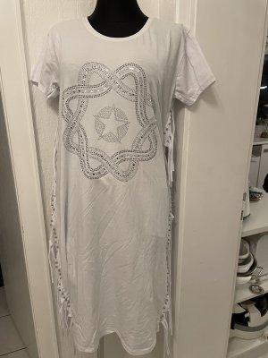 0039 Italy Vestido con flecos blanco