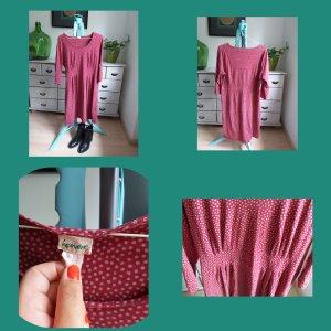Hess Natur Sukienka tunika w kolorze białej wełny-ciemnoczerwony Bawełna