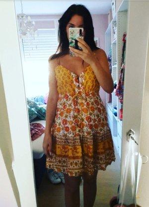 Kleid gelb blogger hipster boho S Blumen Knöpfe