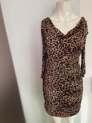 Kleid gereift Leoparden Muster Gr 40 L