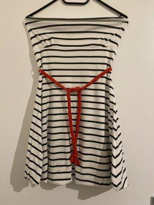Fishbone Sukienka z dekoltem typu bandeau biały