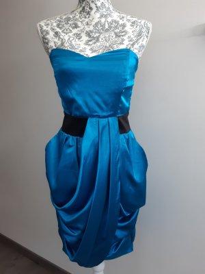 Goddess Off-The-Shoulder Dress neon blue polyester