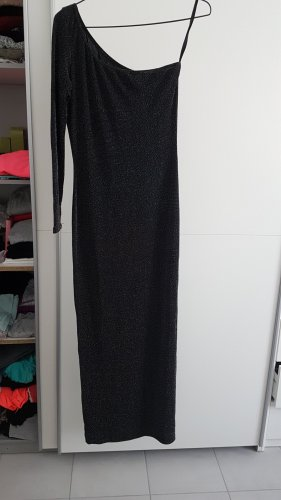 One Shoulder Dress black-silver-colored