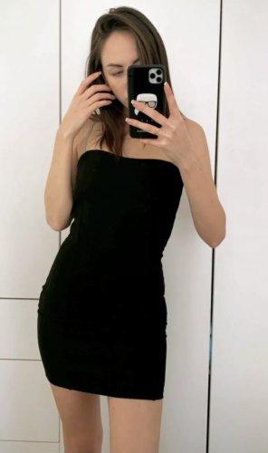 Kleid Gr. XXS Damen Schwarz Mini trägerlos