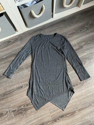 Kleid grau langärmlig Zacken Basic dunkelgrau Anthrazit