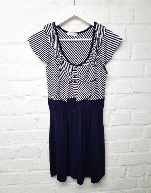 Kleid große Schleife Marine Look Blau Weiß Gr. M