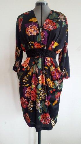 Kleid H&M Conscious Collection gefüttert EUR 38 schwarz Blumenmuster Kimonostyle