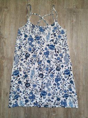 Kleid H&M Sommerkleid Minikleid 36 weiß blau Blumen