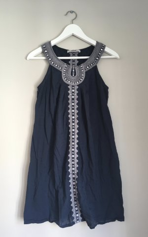 Gharani Strok Hippie Dress dark blue-light grey cotton