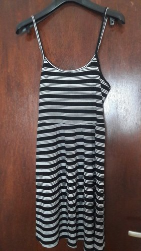 24Colours Vestido tipo overol blanco-negro