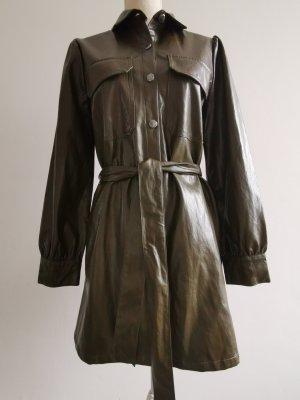 Kleid Hemdblusenkleid Jackenkleid Lederkleid Leder Optik Hemdkleid Gürtel Minikleid olivgrün khaki M