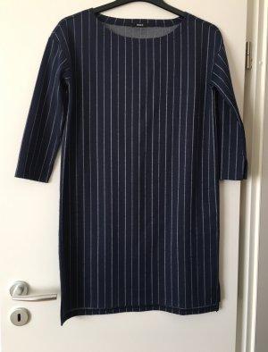 Kleid Herbstkleid Streifen dunkelblau Stiefelkleid