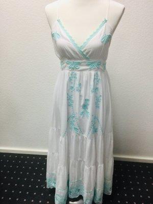 Aus Ibiza Sukienka maxi biały-turkusowy Bawełna