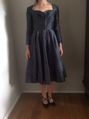 Handmade Petticoat Dress slate-gray-dark blue silk