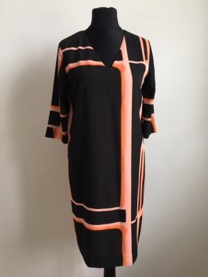 COS Jurk met korte mouwen zwart-oranje Polyester