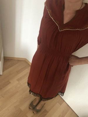 Reserved Fringed Dress russet