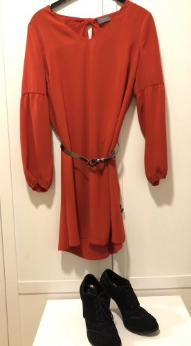 C&A Vestido camisero rojo oscuro Poliéster