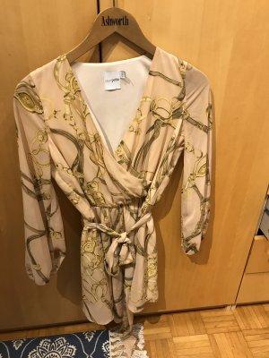 Asos Petite Robe à manches longues rose chair-jaune primevère