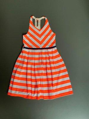 Kleid in Neonorange / Creme