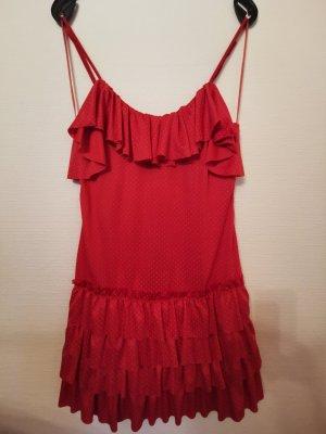 Kleid in rot mit Rüschen