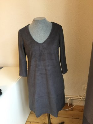 Kleid in Veloursleder-Optik Anthrazit