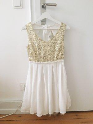 Kleid in weiß mit goldenen Pailetten