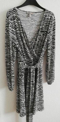 H&M Wikkeljurk zwart-wit Polyester