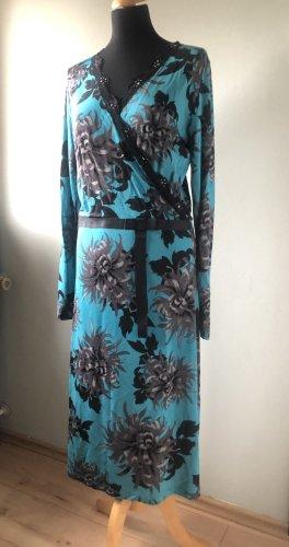 Kopertowa sukienka czarny-morski Elastan