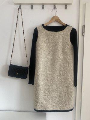 49 AV Junko Shimada Vestido de lana blanco-negro