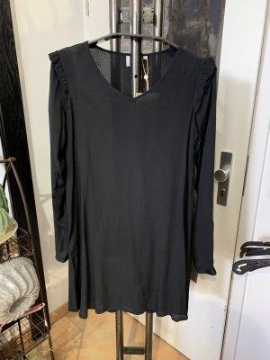 Kleid Kaffe schwarz mit Rüschen