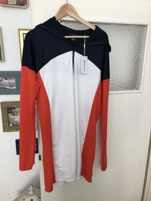 Kleid Kapuze Tenniskleid Tennis Sport Tommy Hilfiger L Orange Blau Weiß