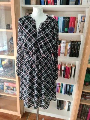 Kleid karomuster s.Oliver Gr. 38 langarm schwarz/weiß/rot