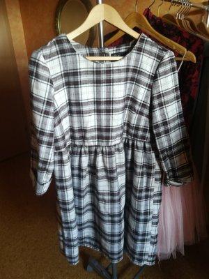 Kleid Karriert Minikleid Oversize Halbarmkleid Babydoll