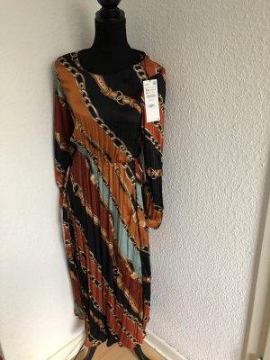 Kleid Ketten-Print Plisee