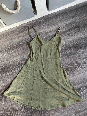 Kleid Khaki olivgrün Spagettiträger Basic H&m Sommerkleid